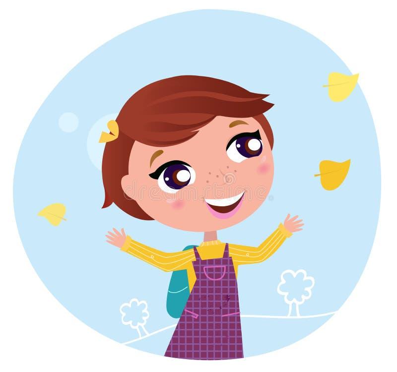 Terug naar school: Het meisje gaat naar de school vector illustratie
