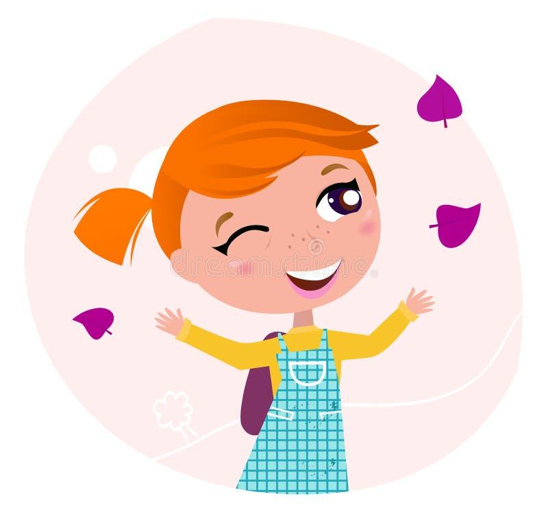 Terug naar school: Het meisje gaat naar school royalty-vrije illustratie