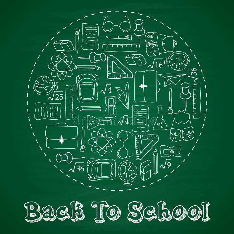 Terug naar school het van letters voorzien in krabbelcirkel op blauwe bordachtergrond royalty-vrije illustratie