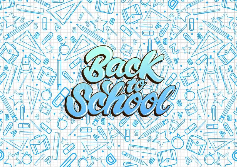 Terug naar school het van letters voorzien Patroon op notitieboekje met de blauwe illustraties van schooldingen de vectorachtergr vector illustratie