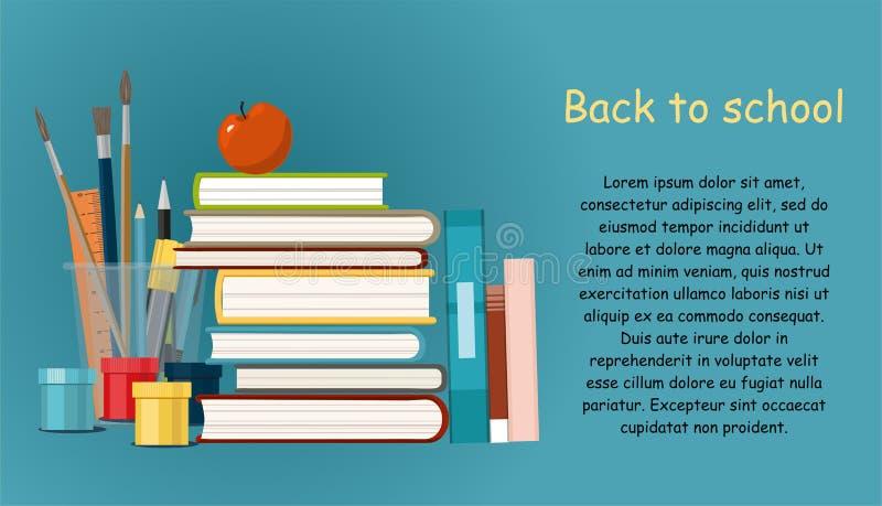 Terug naar School hobby Boeken, het Schilderen Verven, borstels die op blauwe achtergrond worden geïsoleerd stock illustratie