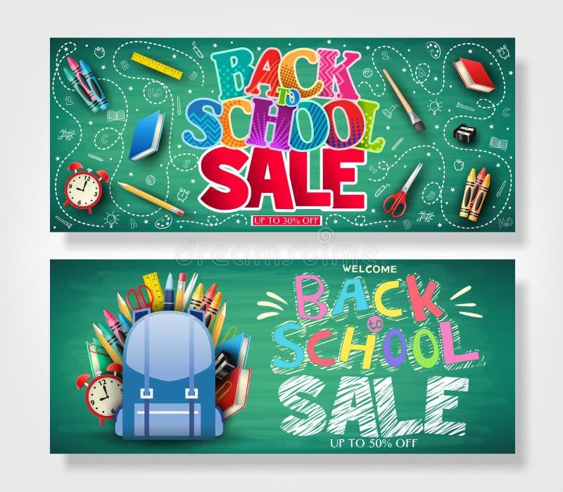 Terug naar School Horizontale die Banner met Kleurrijke Gevormde Teksten wordt geplaatst vector illustratie