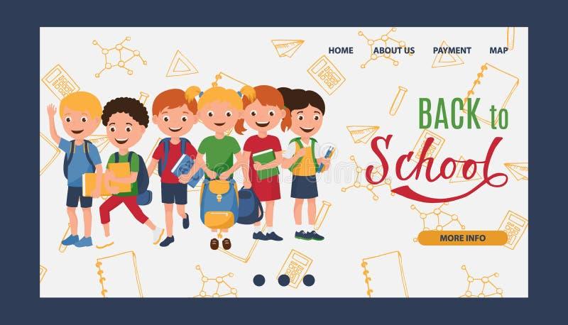 Terug naar school, jonge geitjes die, onderwijs vectorillustratie leren De jonge geitjes gaan naar school met boeken en rugzakken royalty-vrije illustratie