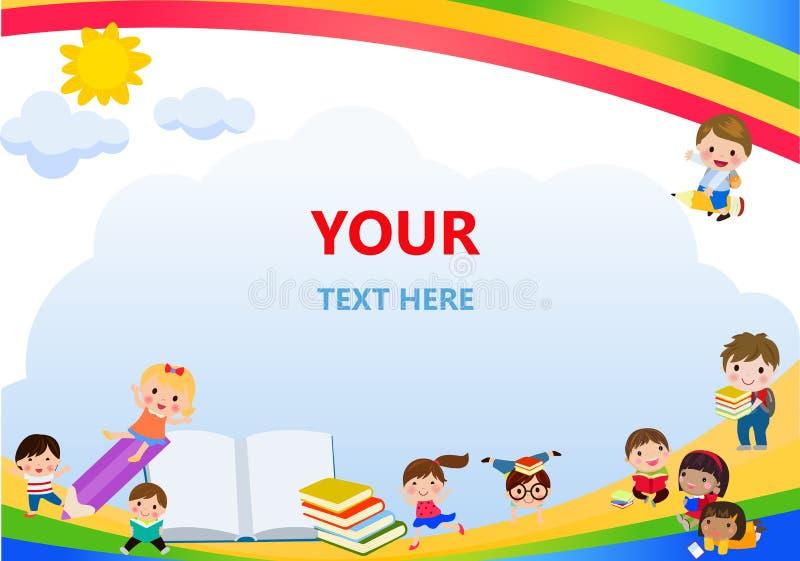 Terug naar school, jonge geitjesschool, onderwijsconcept, gaan de Jonge geitjes naar school, Malplaatje voor reclamefolder, uw te royalty-vrije illustratie