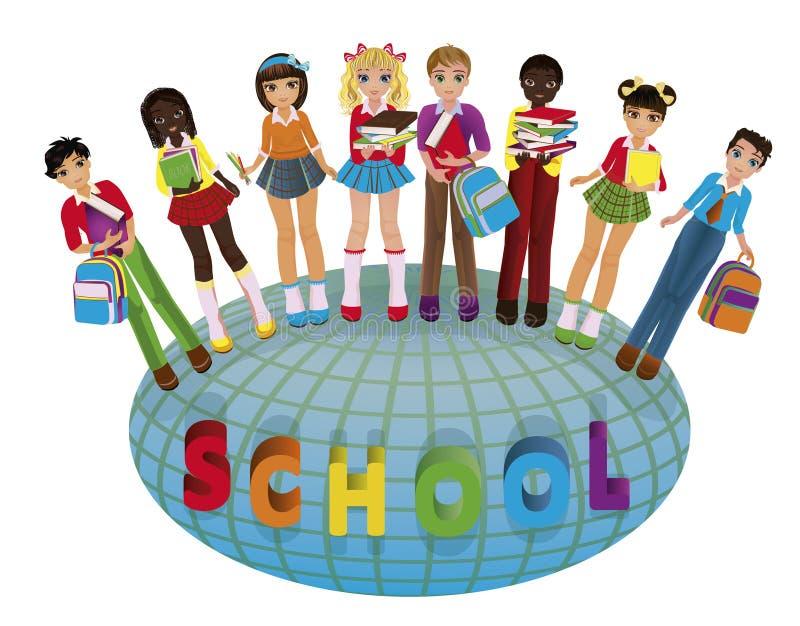 Terug naar School Kleine schoolkinderen en bol stock illustratie