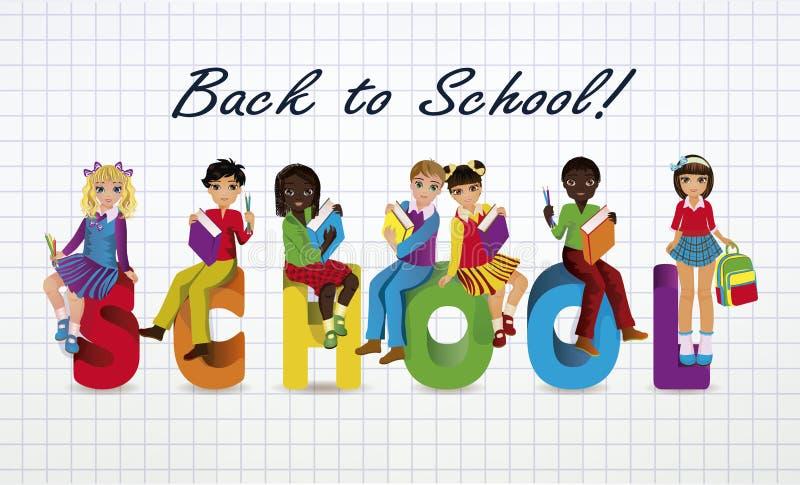 Terug naar School Kleine schoolmeisjes en schooljongens royalty-vrije illustratie