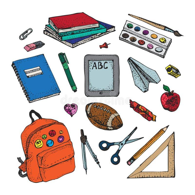 Terug naar school kleurrijke pictogrammen en vectorontwerpelementen De levering en de hulpmiddelen van de onderwijskantoorbehoeft stock illustratie