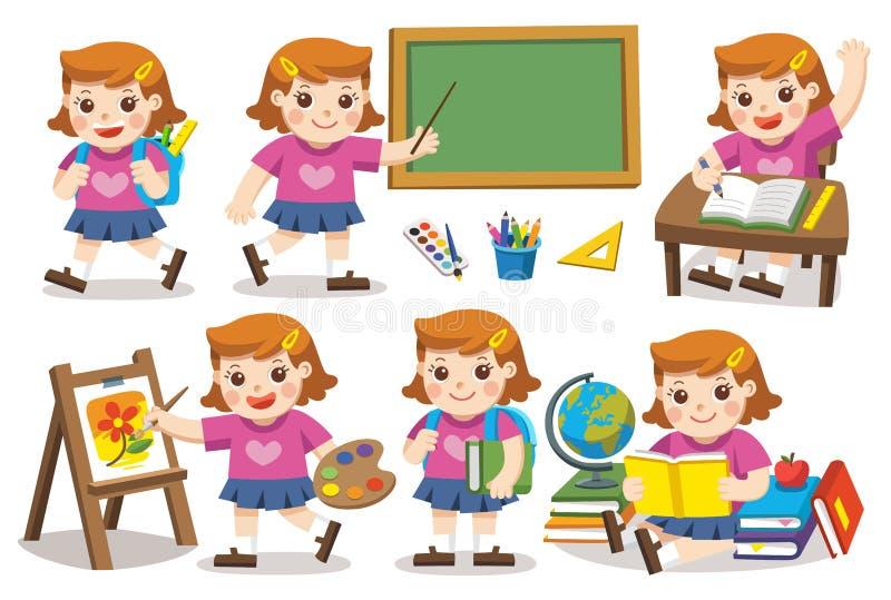 Terug naar School Leuke Meisjesstudie in school stock illustratie
