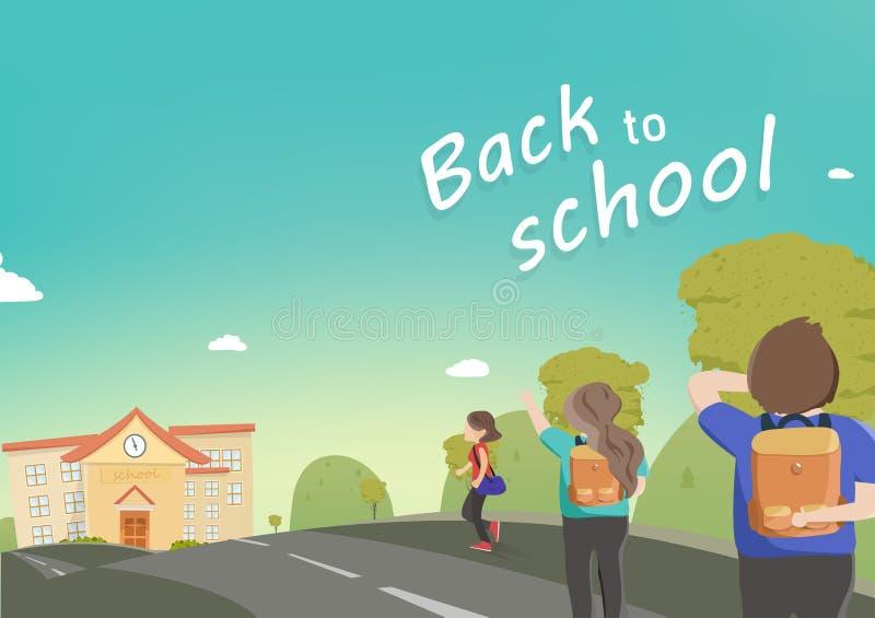 Terug naar school, lopen de studenten aan school, het karakter vectorbeeldverhaal van de mensendiversiteit, de affiche van de gro vector illustratie