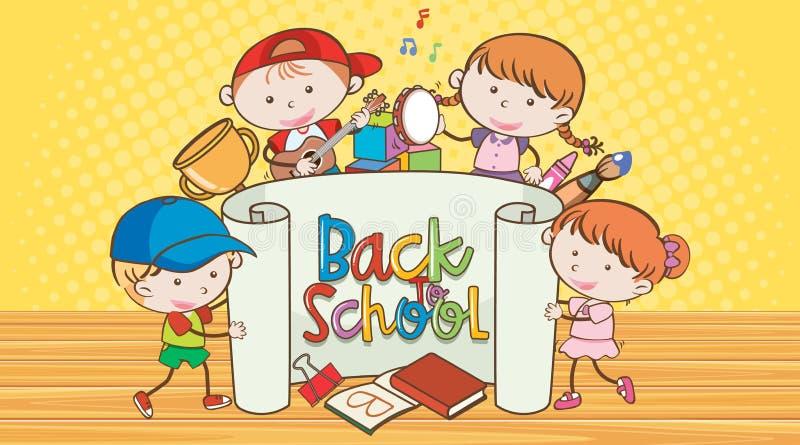 Terug naar school met blije kinderen royalty-vrije stock foto's