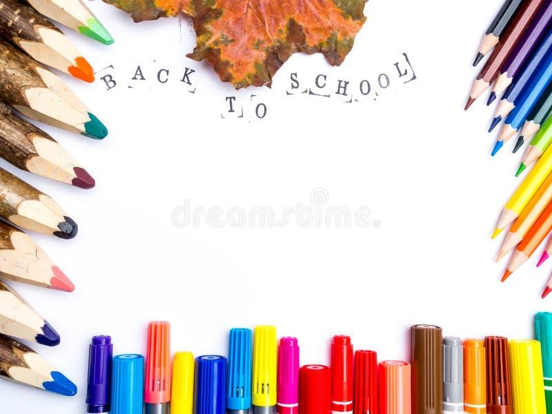 Terug naar school met exemplaarruimte: Witboek, potloden, tellers, de herfstbladeren, hoogste mening stock afbeelding