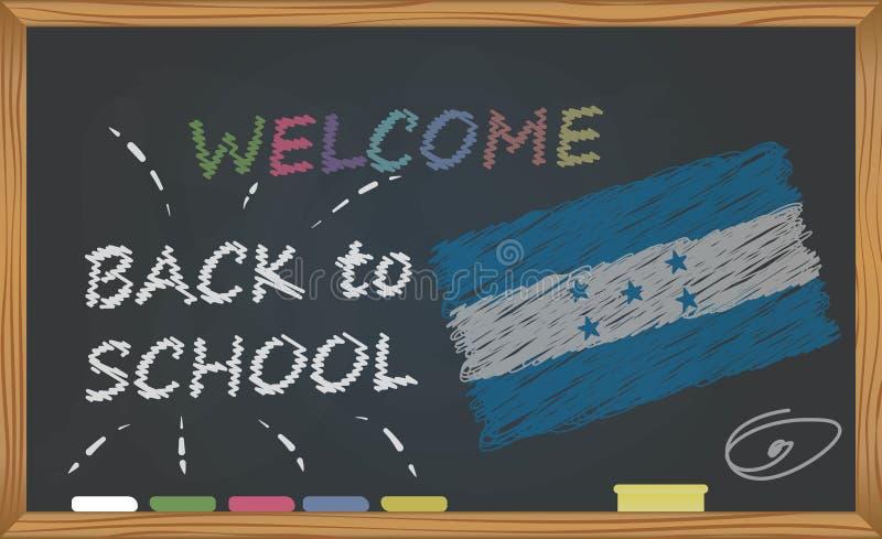Terug naar school met het leren en kinderjarenconcept Banner met een inschrijving met het krijtonthaal terug naar school en Hondu royalty-vrije illustratie