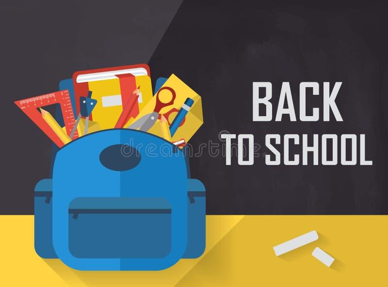 Terug naar school met schooltas en vlakke toebehoren stock illustratie