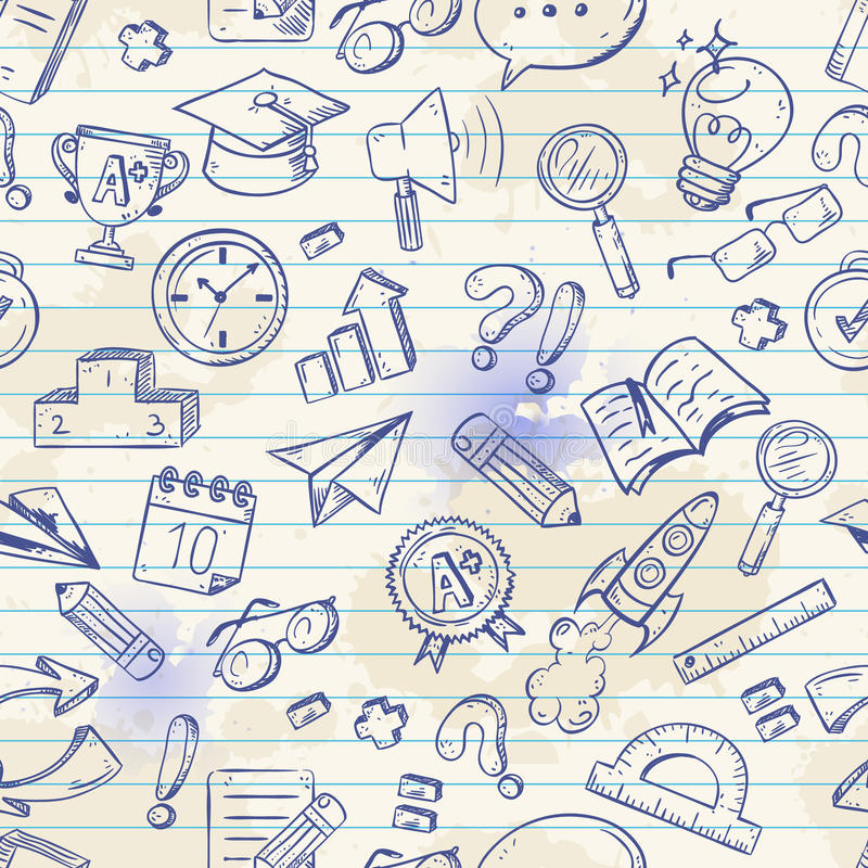 Terug naar school naadloos patroon op een oefenboek royalty-vrije illustratie