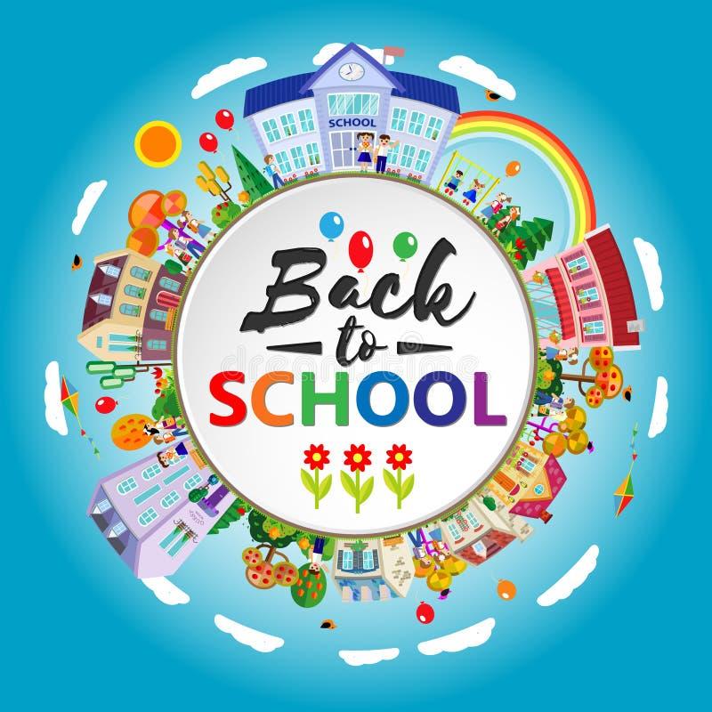 Terug naar school om banner Cirkelkader met kinderen, het gaan Vlakke stijl Vector illustratie stock illustratie