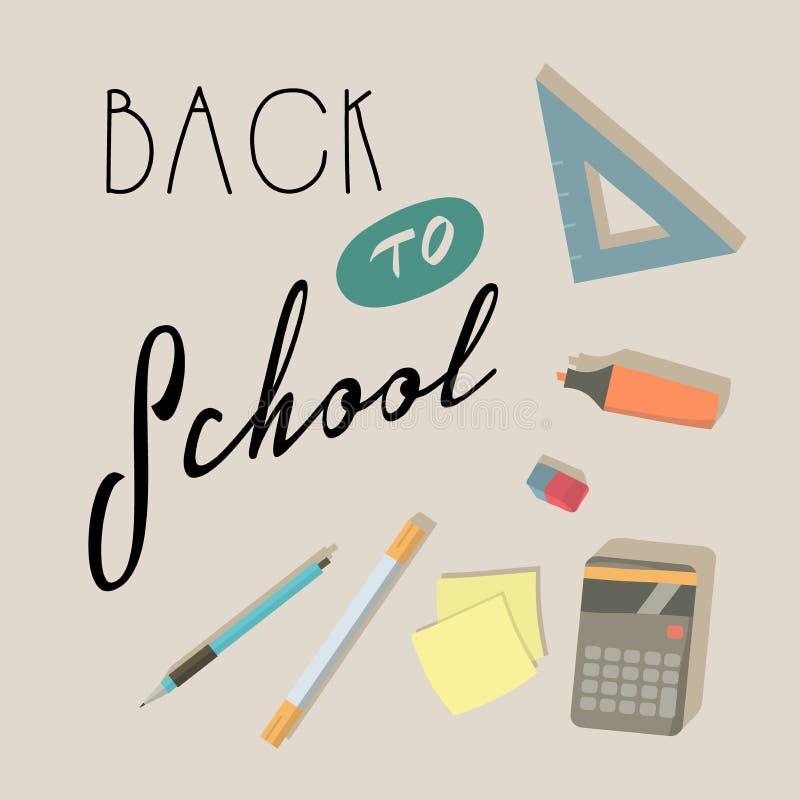 Terug naar School Onderwijs Driehoek, potlood, gom, pen, teller, calculator, stickervector royalty-vrije illustratie