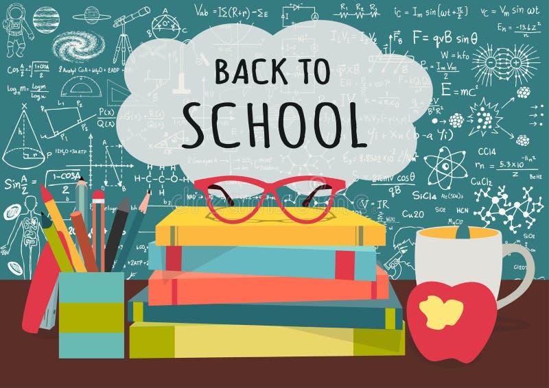 TERUG NAAR SCHOOL op de boeken van de toespraak bubblesabove wetenschap, pennenvakje, appel en mok met wetenschapskrabbels op bor royalty-vrije illustratie