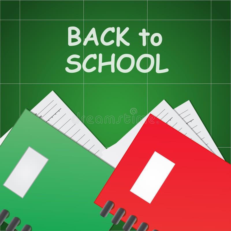 Terug naar school op de groene achtergrond en de groene en rode notitieboekjedocument boekillustratie vector illustratie