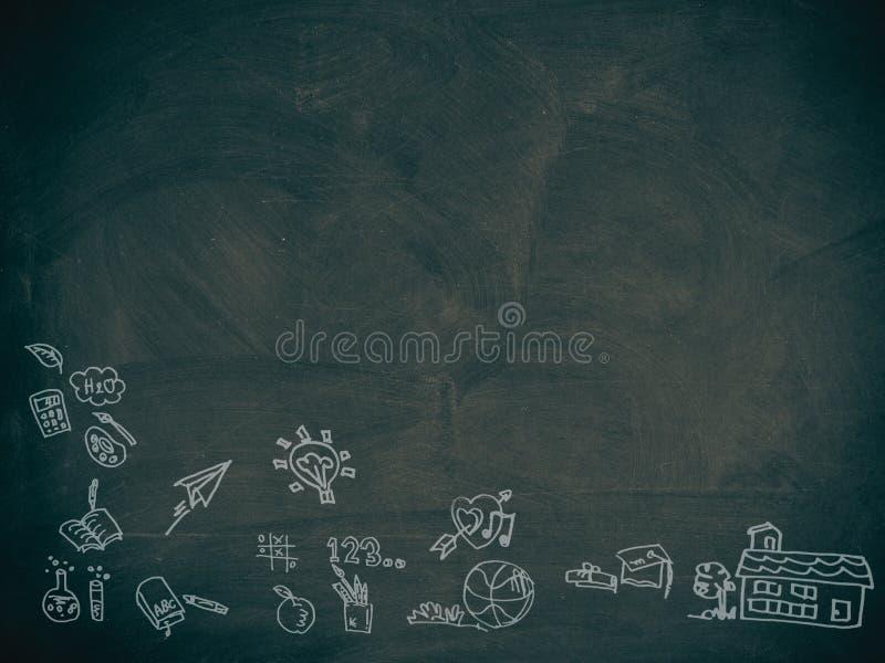 Terug naar school, op een bord wordt geschreven dat stock illustratie