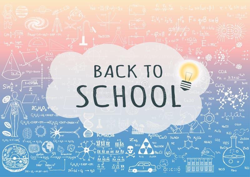 TERUG NAAR SCHOOL op toespraakbel met lightbulb op wetenschapsachtergrond met in pantone stock illustratie