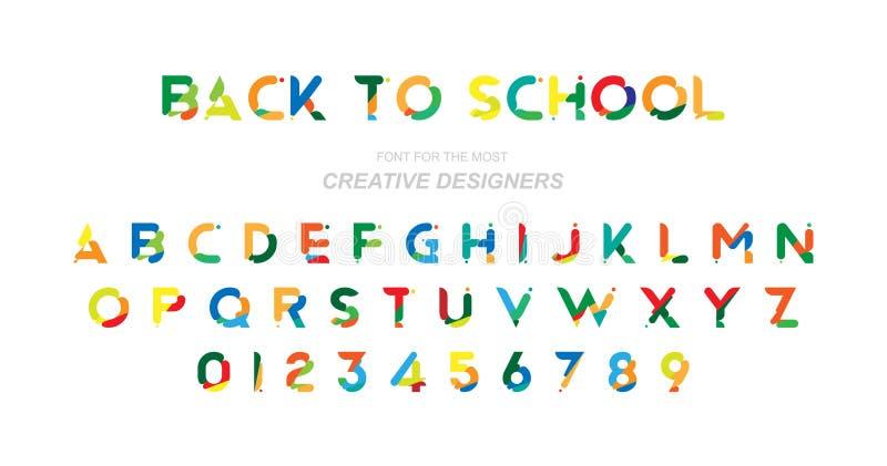 Terug naar School Originele veelkleurige doopvont voor creatief ontwerpmalplaatje Vlakke illustratie eps10 vector illustratie
