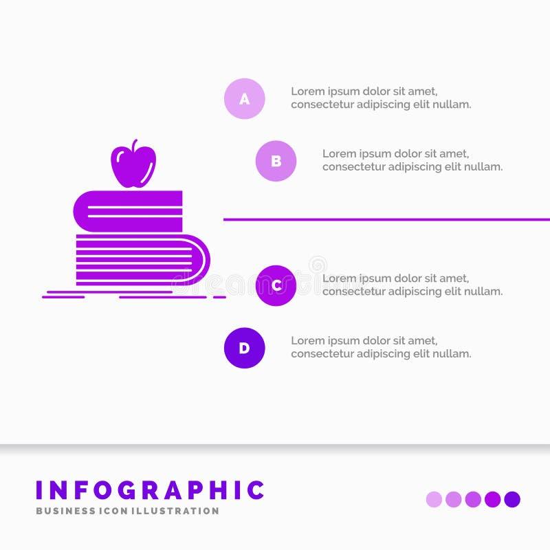 terug naar school, school, student, boeken, het Malplaatje van appelinfographics voor Website en Presentatie Infographic GLyph Pu vector illustratie