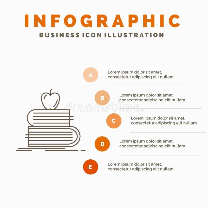 terug naar school, school, student, boeken, het Malplaatje van appelinfographics voor Website en Presentatie Lijn Grijs pictogram vector illustratie