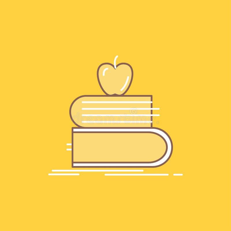 terug naar school, school, student, boeken, vulde de appel Vlakke Lijn Pictogram Mooie Embleemknoop over gele achtergrond voor UI vector illustratie