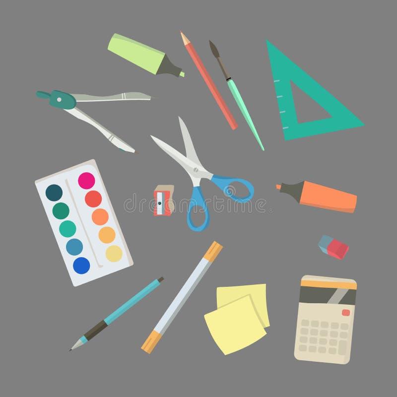 Terug naar School Toebehoren voor school Klaslokaal stock illustratie