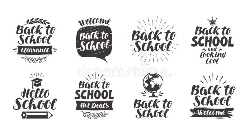 Terug naar school, vastgestelde pictogrammen Het met de hand geschreven van letters voorzien Etiket vectorillustratie stock illustratie