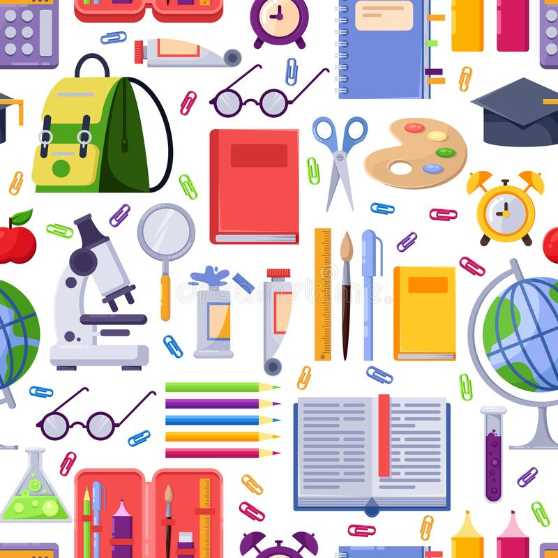 Terug naar school vector naadloos patroon De kleurrijke levering en de hulpmiddelen van de onderwijskantoorbehoeften De achtergro stock illustratie