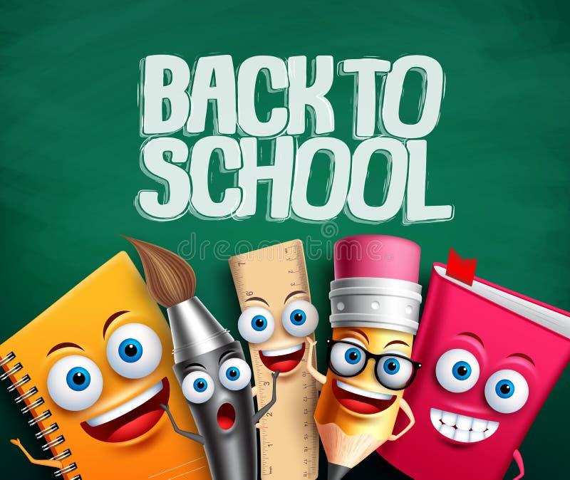 Terug naar school vectorbanner met schoolkarakters op groene achtergrond stock illustratie