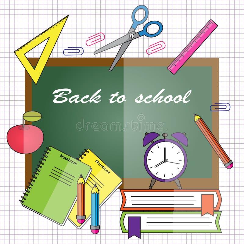 Terug naar School Vectorillustratie in vlakke stijl Bordwi stock illustratie