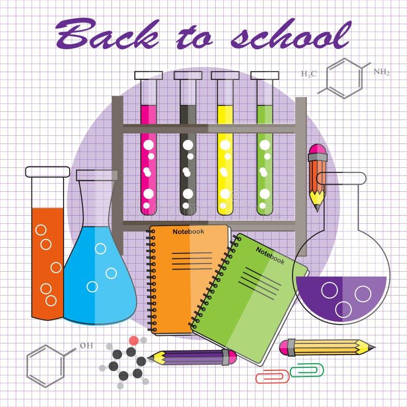 Terug naar School Vectorillustratie in vlakke stijl Chemische reage royalty-vrije illustratie