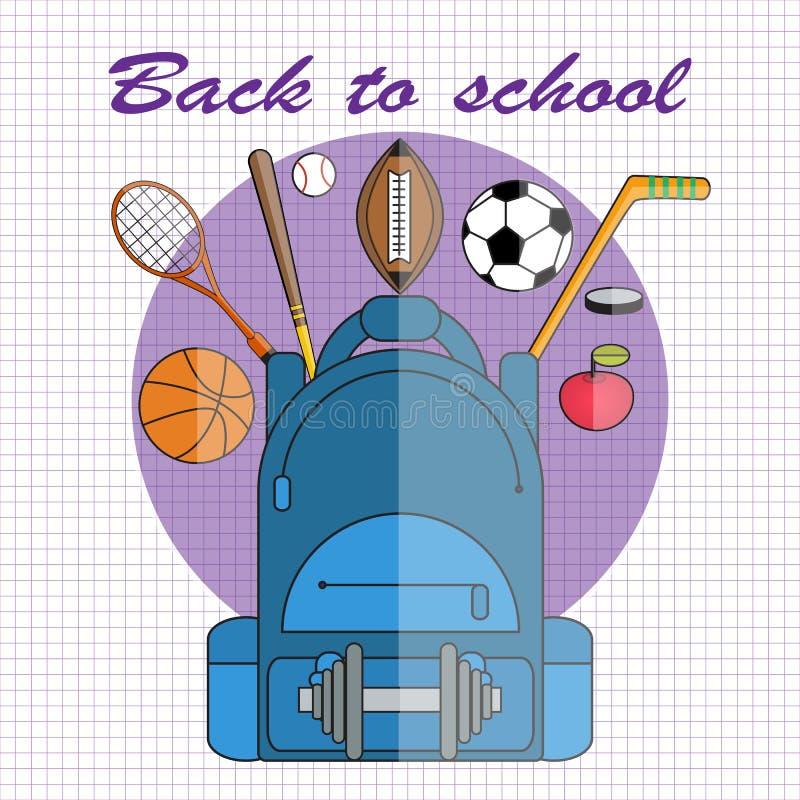 Terug naar School Vectorillustratie in vlakke stijl School-rugzak met domoor, voetbal en basketbalballen stock illustratie