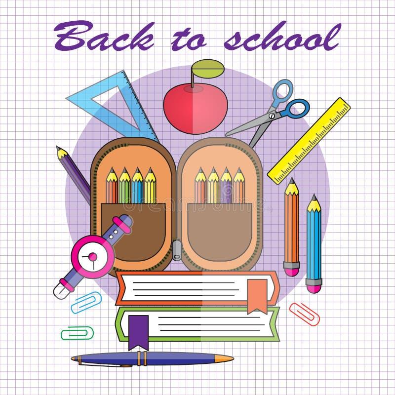 Terug naar School Vectorillustratie in vlakke stijl Wi van het potloodgeval stock illustratie