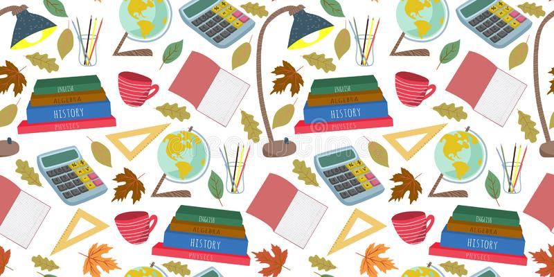 Terug naar School Vlak vector horizontaal naadloos patroon, uit de vrije hand met kantoorbehoeften, boeken en andere op een witte royalty-vrije illustratie