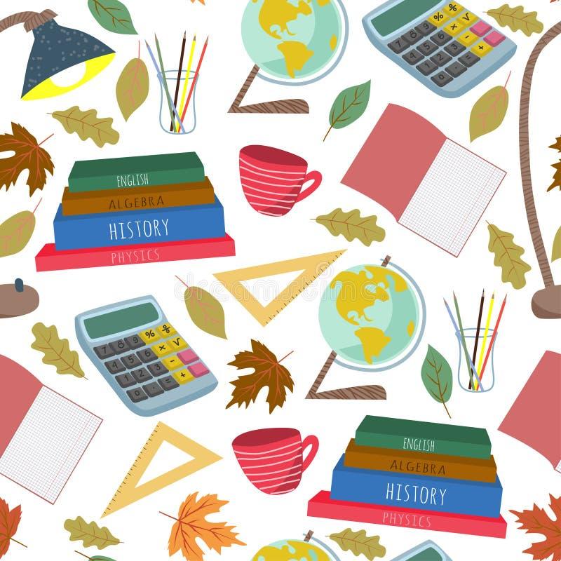 Terug naar School Vlak vector naadloos patroon, uit de vrije hand met kantoorbehoeften, boeken en andere op een witte achtergrond royalty-vrije illustratie