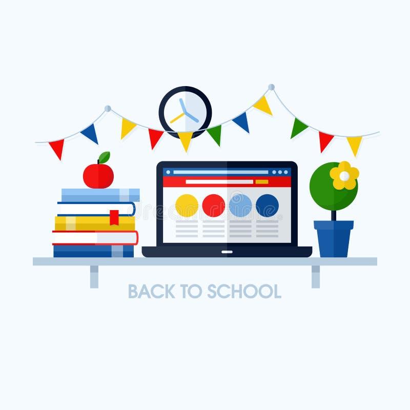 Terug naar school vlakke vectorillustratie met bureau en schoolsup vector illustratie