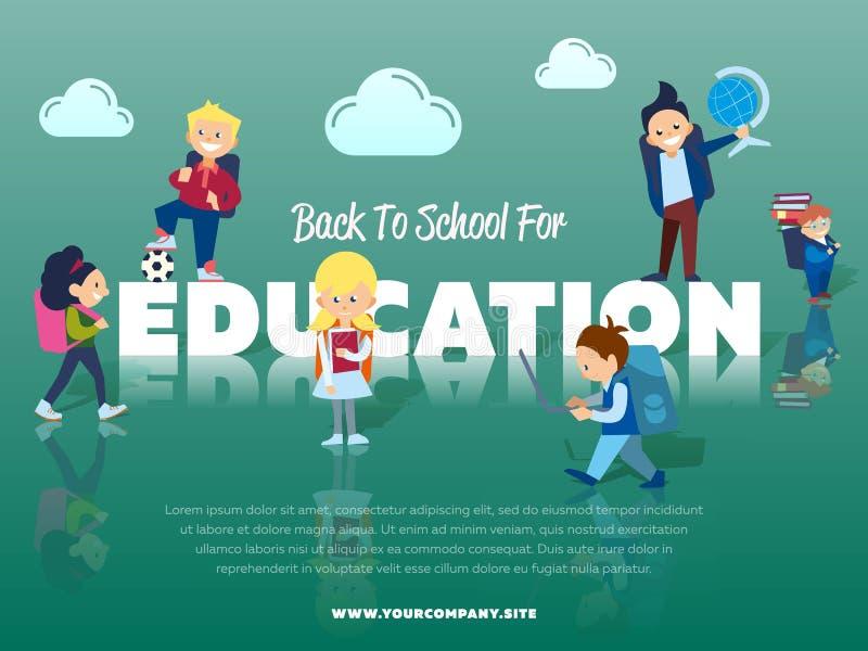 Terug naar school voor onderwijsbanner vector illustratie