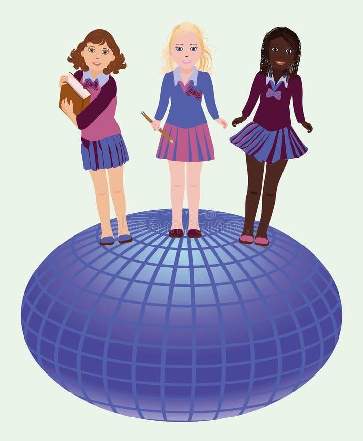 Terug naar School Weinig schoolmeisjes en bol vector illustratie