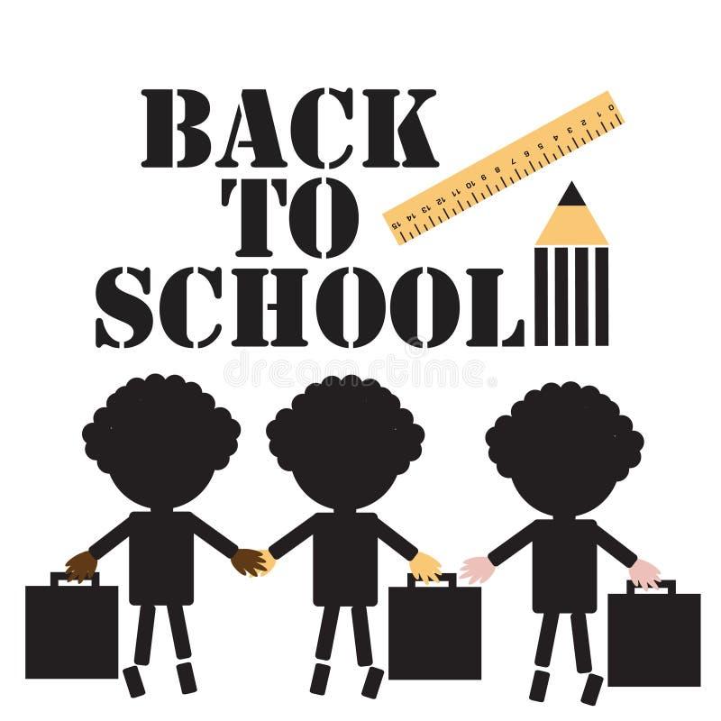 Terug naar school zwarte inschrijving drie silhouetten van schoolkinderen van verschillende nationaliteiten met aktentassen, heer stock illustratie