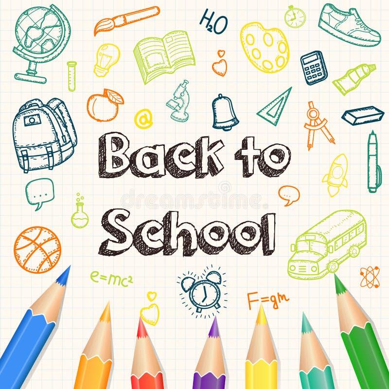 Terug naar Schoolachtergrond, met hand getrokken krabbelelementen en realistische potloden Vector royalty-vrije illustratie