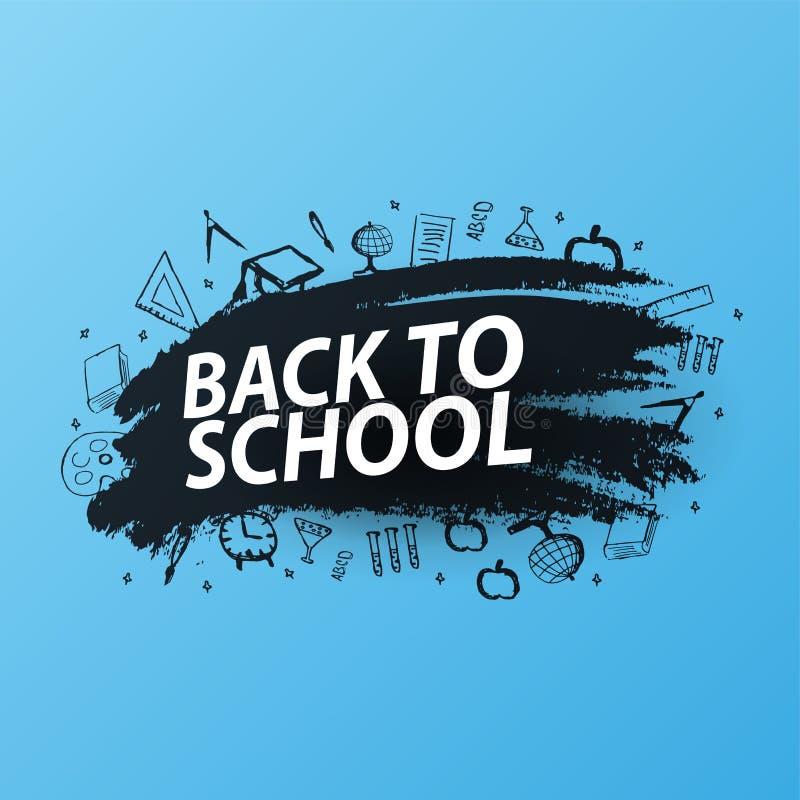 Terug naar Schoolachtergrond met hand-trek krabbels Onderwijsbanner Vector illustratie stock illustratie