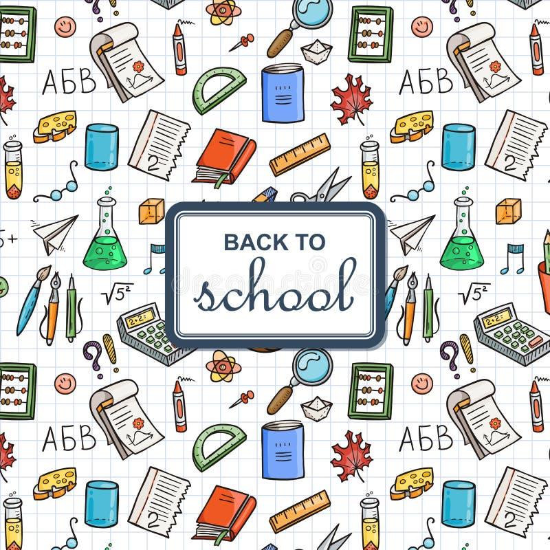 Terug naar Schoolachtergrond met Levering De schetsmatige achtergrond van notitieboekjekrabbels met tekst vector illustratie