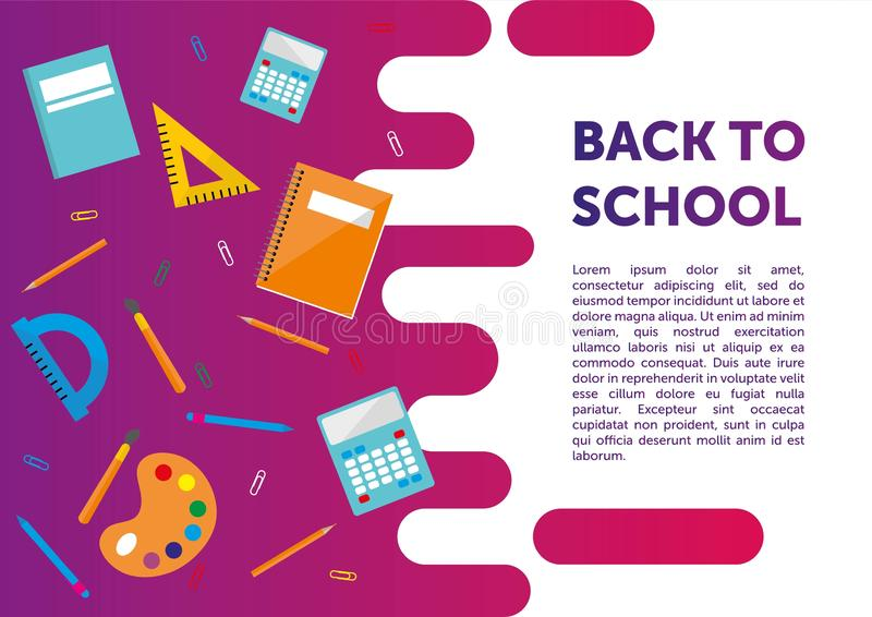 Terug naar schoolbanner, affiche, vlak kleurrijk ontwerp, vector backgound Web-pagina royalty-vrije illustratie
