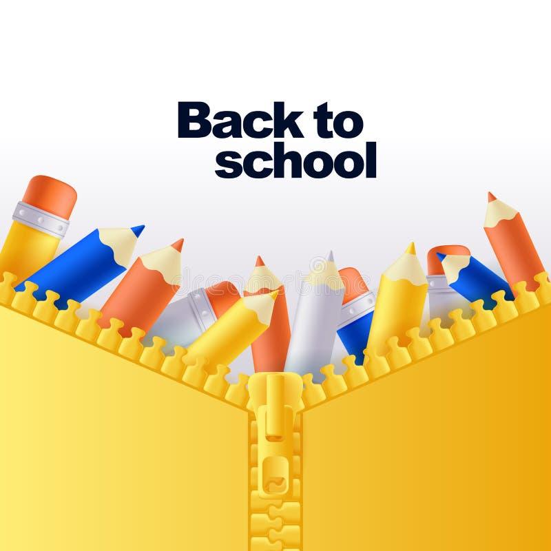 Terug naar schoolbanner of afficheachtergrond Vector 3d potloden in open pitzak Gele rugzak dichte omhooggaande illustratie royalty-vrije illustratie