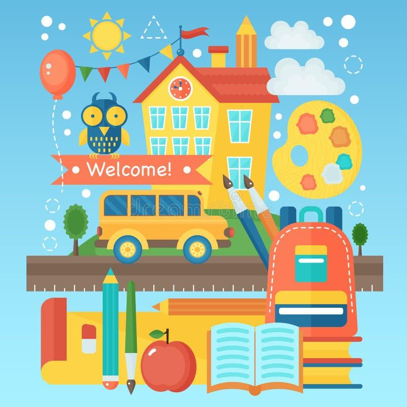 Terug naar Schoolbanner met de schoolbouw, bus en onderwijspictogrammen Vector vlakke illustratie Het concept van het schoolonder stock illustratie
