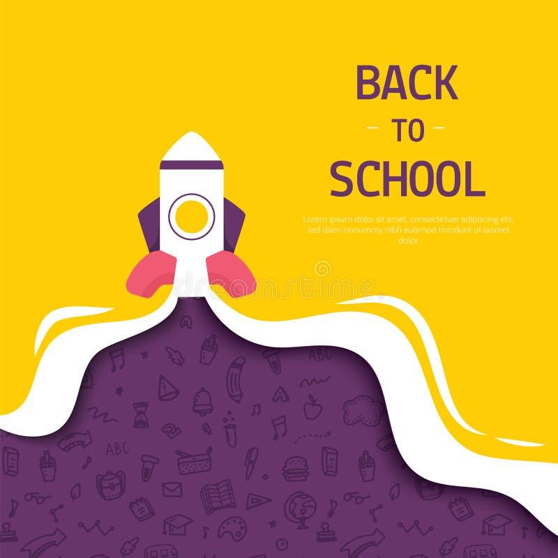 Terug naar schoolbanner met raket en krabbelpatroon, eenvoudig ontwerp voor om het even welke doeleinden stock illustratie