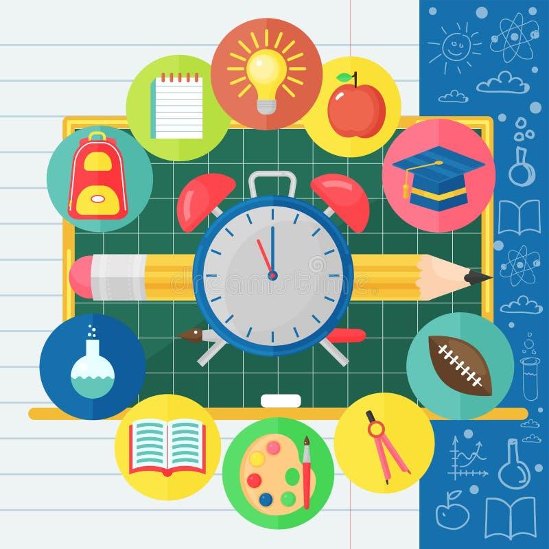Terug naar Schoolbanner met vlak die pictogram op Bord wordt geplaatst Vector vlakke illustratie Het concept van het schoolonderw vector illustratie